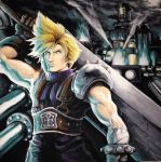 Cloud Strife in Midgar - Acrylic painting by ALEXWORX