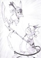 Pikachu vs Raichu by DaisyDeddle