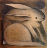 Rabbit with Black Circle (New Moon) by SethFitts