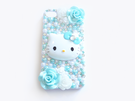 Blue and White Hello Kitty Decoden iPhone Case by Kuppiecake