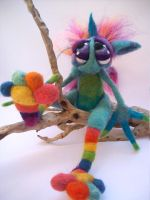 Rainbow Toe Sock Goblin by Tanglewood-Thicket