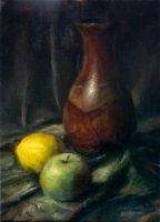 Vase Still Life with Fruit by Stungeon