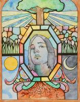 Stained Glass Self Portrait by fenix42