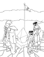 Naruto - Ghosts of Honor bw by FoxxFireArt