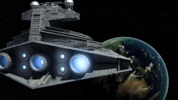 Imperial Star Destroyer approaches Earth by Affet-kak