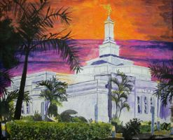 Sunset over Asuncion Paraguay LDS Temple by Ridesfire