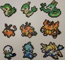Pokemon Black and White Starters Perlers by jrfromdallas