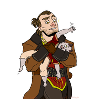 Varric Carrying a Qunari Baby by Static-Thing