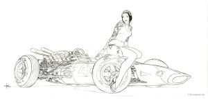 Honda Girl Line Art by Kerong