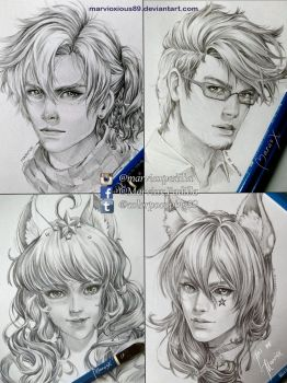 Semirealistic Portraits Commissions by marvioxious89