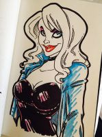 Black Canary marker pen sketch by Anamated