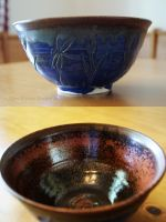 Dark Blue Wetlands Themed Ceramic Bowl by ashynekosan
