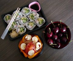 Californian maki and cherries by Vetriz