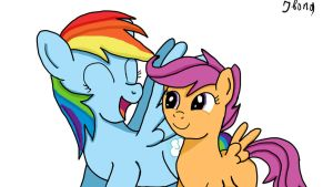 Rainbow Dash and Scootaloo by Jbond92
