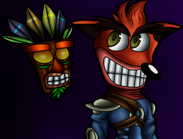 Crash as Jak and Aku Aku by XxAbbiTheBandicootxX