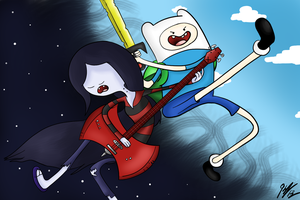 Finn and Marceline (Adventure Time) by KCampbell499