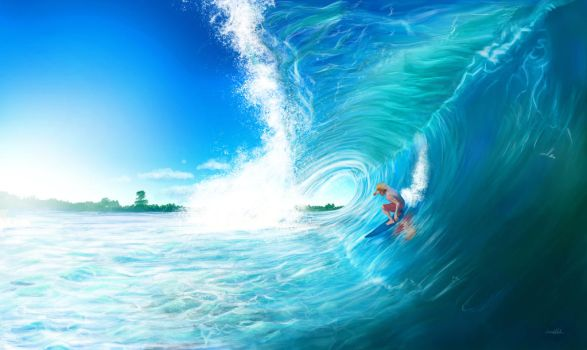 Surfing the waves by LauraJeanDA