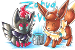 Pokepaint: Zorua and Eevee by Strixic