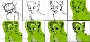 The process of lineart and color. by AdogTheCool