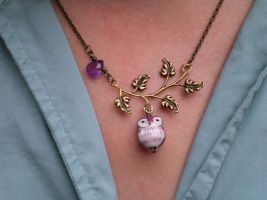 Owl on Bronze Necklace by CorvaCarolina