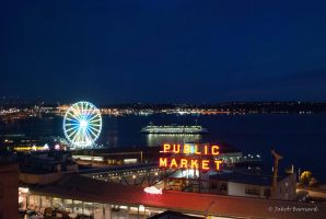 Pike Place Market at Night by olorinpc