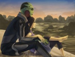 Thane and Shepard for Fae Tian by Makena