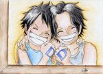 Luffy and Ace by Elenuky