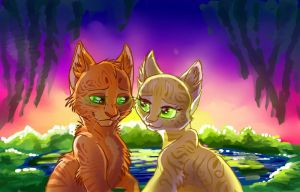 Firestar and Sandstorm by WhiteLily24