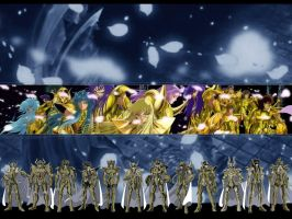 Saint Seiya - Gold Saints Wall by Edhel44