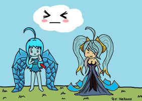 Anivia comparing chest to Sona by NekoPooky