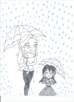 Walking in the rain (uncolored) by XSreiki772