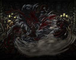 Bloodborne Hunter vs Cleric Beast by shaloneSK