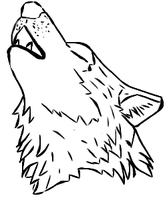Free Howling Wolf Lineart by Xabrinaye