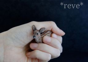 Deer Fawn Handmade Miniature Sculpture by ReveMiniatures