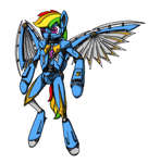 Android Rainbow Dash / Steamwing Valkyrie by Comet-Strike