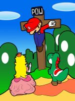 Mario Bros Nailed to the Cross by cinfa