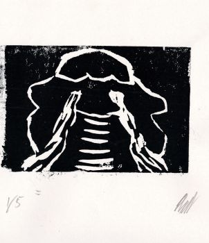 Crying Child from the Shadows (Printmaking) by AxelDK64