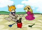 Young Sherlock Hound playing in the sand by Nekohonde
