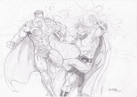 Superman vs Sentry by lorkalt