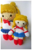 usagi and mini usagi amigurumi by pirateluv