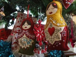 Embroidered Felt Russian Doles Xmas Decorations 1 by KymeraKirsty