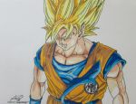 Goku's Super Saiyan Glare by gokujr96