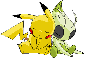 Pikachu and celebi by Remesup
