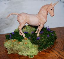 Unicorn sculpture on base wip by PaintedKelpie