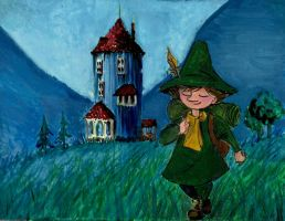 Snufkin leaving Moominvalley by Wichrzyciel