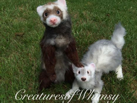 Ferret sisters commission. SOLD! by creaturesofwhimsy