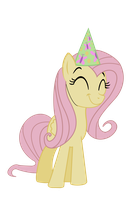 Fluttershy in a party hat by stricer555