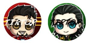 Tony Stark and Loki Pins by StudioTipTop