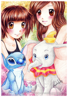 Stitch and Dumbo by nor-renee