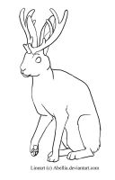 Jackalope Lineart by Abellia